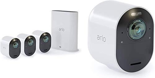 Arlo Ultra, sistema de videovigilancia WiFi con 4 cámaras 4K, baliza y sirena incorporadas, audio bidireccional, visión diurna / nocturna de 180 °, interior / exterior, compatible con Alexa / Google Wi-Fi, VMS5440
