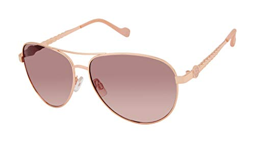Jessica Simpson J5702 Stylish Metal UV Protective Aviator Sunglasses. Glam Gifts for Women, 59 mm, Rose Gold & Rose