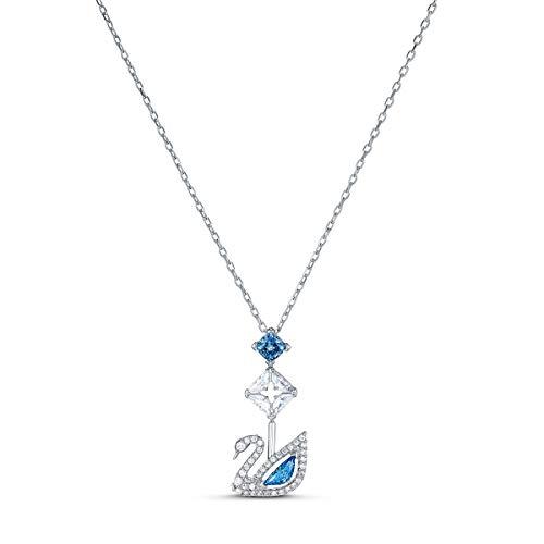 Swarovski Dazzling Swan Halskette, Blau, rhodiniert