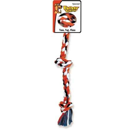 MAMMOTH Flossy Chews Cottonblend Color 3Knot Rope Tug Small 15'