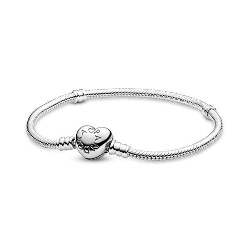 Pandora gepolijste armband   Van 925 zilver   Hartvormige clipsluiting   Vanaf 18 tot 21 cm