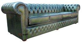 Designer Sofas4u Chesterfield Winchester4posti, colore: verde anticato divano di pelle OFFERTA