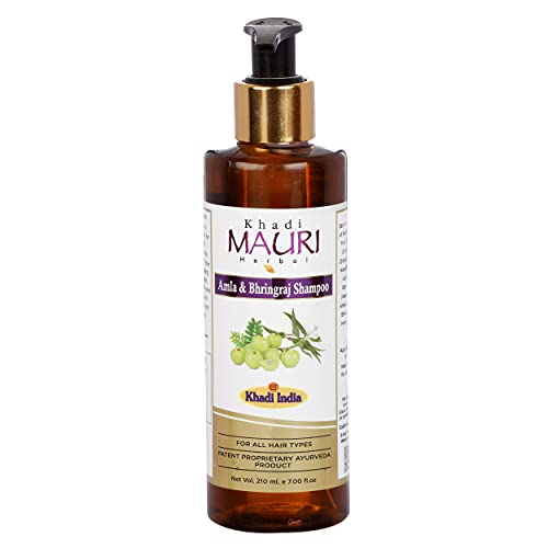 Khadi Mauri Herbal Amla and Bhringraj Herbal Shampoo - Prevents Hairfall & Damage, Strengthens Roots & Hair Follicles - Enriched with Natural Ingredients - 210 ML
