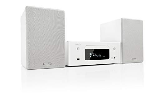 Denon CEOL N-10 Kompaktanlage, HiFi Verstärker, CD-Player, Internetradio, Musikstreaming, HEOS Multiroom, Bluetooth & WLAN, AirPlay 2, Alexa Kompatibel, 2 Optische TV-Eingänge, mit Lautsprecher, weiß