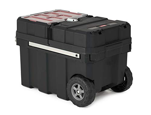 Keter Masterloader Resin Rolling Tool Box Organizer with Lockable Compartment and Removable Bins for Small Parts and Hardware Storage, Black