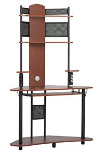Calico Designs Arch Tower Corner Computer Tower Multipurpose Home Office Computer Writing Desk - Cherry / Black, 50520