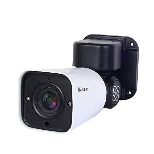 Westshine Telecamera bullet PTZ 1080P con rilevamento di audio e movimento, Esterna impermeabile per interni, Panoramica a 180°,Inclinazione a 55°,Telecomando zoom digitale 4X,Visione notturna nitida