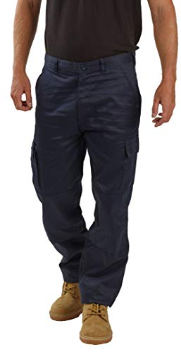"Mens Cargo Work Trousers Size 28 to 52 Black or Navy Cargo Combat Trousers by BWM (32"" Waist/Regular Leg, Navy)"