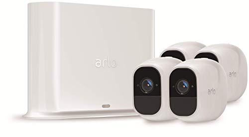 Arlo Pro2 VMS4430P Kit Base Sistema di Videosorveglianza Wi-Fi con 4 Telecamere di Sicurezza, Audio 2 Vie, Batteria, Full HD, Visione Notturna, Interno/Esterno, VCR Opz, Alexa e Google Wi-Fi