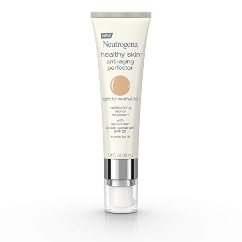 Neutrogena Healthy Skin Anti-Aging Perfector Tinted Facial Moisturizer and Retinol Treatment with Broad Spectrum SPF 20 Sunscreen with Titanium Dioxide, 30 Light to Neutral, 1 fl. oz