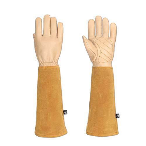 Handschuhe aus Ziegenleder, zur Gartenarbeit, Dornensicher, mit Armschützern, geeignet zum Beschneiden von Rosen, Brombeeren, Kakteen (HCT05)