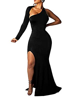 Stretch fabric,Size:S=USA 4-6;M=8-10;L=12-14;XL=14-16 One shoulder backless elegant maxi long fishtail dress Suitable for Party Cocktail Evening Wedding Dinner date Homecoming Graduation The evening dress most prominent place is the back and split an...