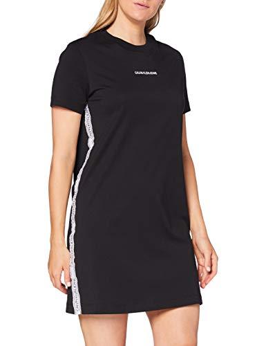 Calvin Klein Jeans Damen T-Shirt Dress with Mesh Tape Kleid, Schwarz,...