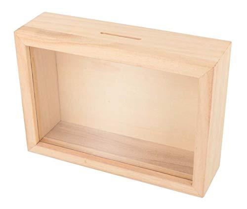 Artemio Tirelire cagnotte voyage en bois à décorer-17 x 12 x 5 cm, beige,...