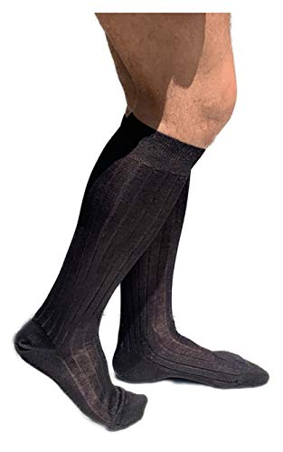 Lucchetti Socks Milano 6 PAIA calze da uomo lunghe filo di scozia 100% cotone rimagliate Made in Italy (NERO, 1112 43-46)