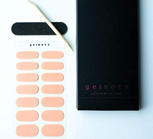 GELMATE Semi Cured Gel Nail Wraps UV/LED Lamp Required 20 Real Gel Nail Polish Stickers Light Pink