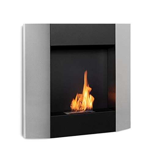 Klarstein Phantasma Futur Ethanol Fireplace - Smokeless & Odourless, Stainless Steel Bio-Ethanol Burner, Heating Power: Approx. 1.9 kW, 0.6 l Tank, Approx. 2 Hours Burn Time, Extinguishing Aid