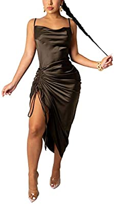 MATERIAL: Womens sexy spaghetti strap satin dress made of 95% polyester + 5% spandex, the fabric is soft and comfortable, the texture is smooth and shiny, and it has a elegant drape feeling. FEATURE: Sexy satin spaghetti strap party midi dress for wo...