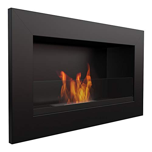 KRATKI bio Fireplace Golf |374 x 648 cm |0.2 L Container |Black |with Glazing 4 mm Glass Thickness |Wall-Mounted Ethanol Fireplace |Ideal for Home or Bedroom |TÜV - Rhineland Tested