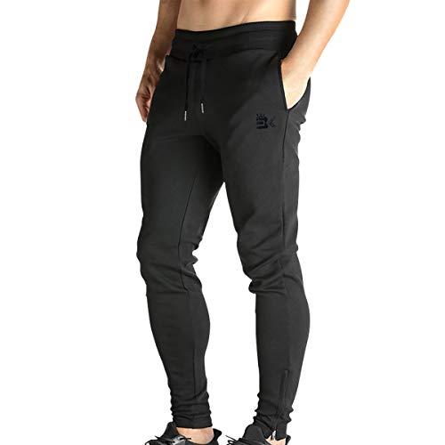 Broki - Pantaloni da jogging da uomo, con cerniera, stile casual, per palestra, fitness, vestibilit aderente, colore: nero Nero S