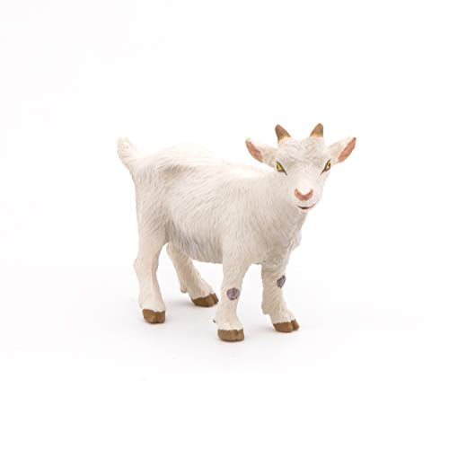 Papo 51146 - Statuina di capra bianca con scritta 'FARMYARD Friends', multicolore