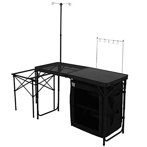 DOD(ディーオーディー) クッキングキング オールインワンキッチン 耐熱メッシュ 収納棚付き TB5-723-BK