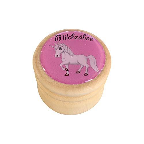 Milchzahndose, Zahndose Milchzähne Bilderdose aus Holz in diversen Motiven für Jungen und Mädchen mit Drehverschluss 44 mm (Einhorn)