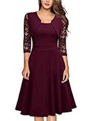Square Neck,2/3 Sleeve Contrast Floral Lace,Zipper On The Back Swing Dress,Knees Length Washing Tip:Hand Wash Only In Low Temperature Or Dry Washing,Please Hand wash Only,Please use steam ironing the dress before you wear it. Suit for Casual Outdoor,...