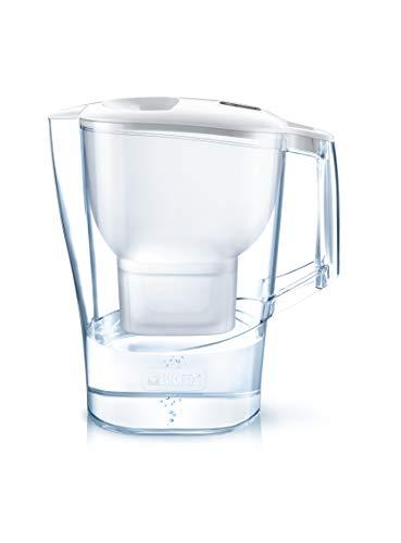 BRITA Aluna - Jarra de Agua Filtrada con 1 cartucho MAXTRA+ - Filtro de agua BRITA que reduce la cal y el cloro - Agua filtrada para un sabor excelente - Filtro de agua color blanco