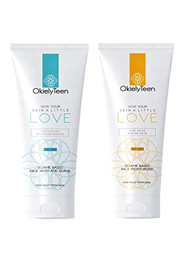 OkielyTeen Ultra Mild Face Wash and Scrub + Face Moisturizer Combo for Teenagers - 100gm