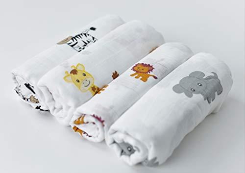 CuddleBug Mussole Neonato Pacco da 4 Copertina neonato leggera disponibile in 4 design Mussola neonato 120 cm X 120 cm Copertina neonato cotone Unisex Regali neonati (Amici della Savana)