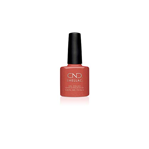 CND Shellac Gel Nail Polish, Long-lasting Color Coating NailPaint with Curve-hugging Brush, Shimmer Opaque Finish in Orange, Jelly Bracelet, 0.25 fl oz
