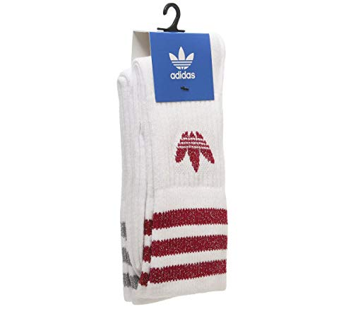 adidas Mid Cut Glitter Crew 2pp, Socks Donna, White/Energy Pink F17/Silver Met, S