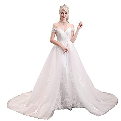 High Quality Soft Tulle & Lace Fabric,fully Satin lining. This Elegant Lace Wedding Dress Features Off the Shoulder A-Line Style,Lace Applique decoration,Long Tulle Detachable Train,Build in Bra,Handmade. SIZE:please do refer to seller's size chart o...