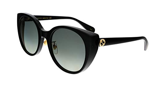 31XybETISmL Brand: Gucci Model: GG0369S Style: Fashion Cat Eye Frame/Temple Color: Black - 001 Lens Color: Grey Gradient Size: Lens-54 Bridge-22 Temple-145mm