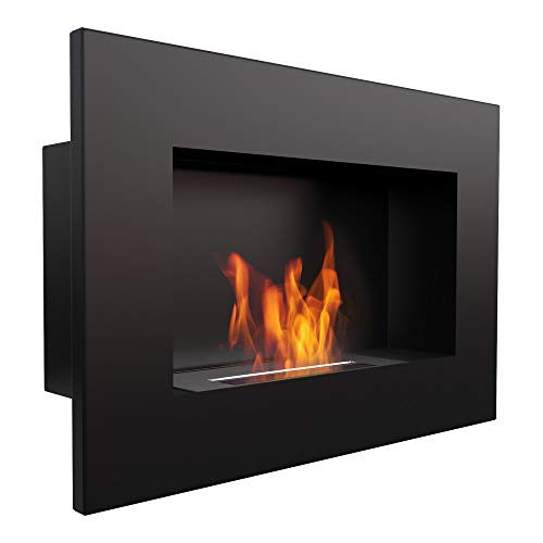 KRATKI bio Fireplace Delta | 400 x 600 mm | 0.2 L Container | Black | Without Glazing | Wall-Mounted Ethanol Fireplace | Ideal for Home, Living Room or Bedroom | TÜV - Rhineland Tested