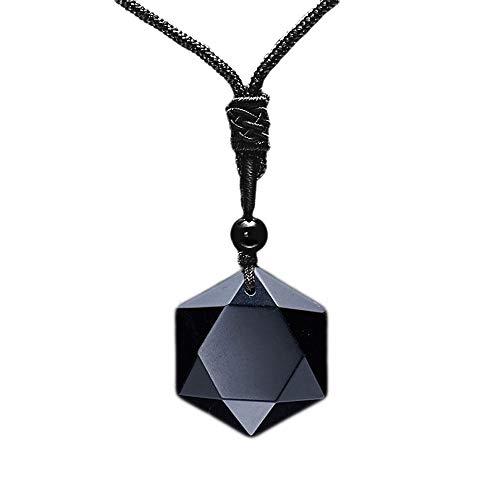 MENGLINA Black Obsidian Hexagram Natural Stone Necklace...