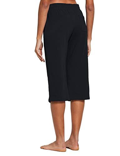 BALEAF Women's Active Yoga Lounge Indoor Jersey Capri Pocketed Walking Crop Pants Black Size L 2