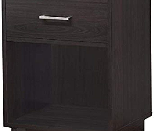 Cozy Espresso Color Wood  Drawer Nightstand With Lower Shelf For More Storage And Silver Handle