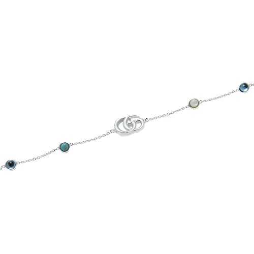 31YU57zYqvL The Double G—an archival reprisal of the House's signature emblem—appears on a bracelet, enriched with mother of pearl and topaz stones. The logo chain is attached with a small textured silver chain with a flower charm. 18.8cm / 7.40inch