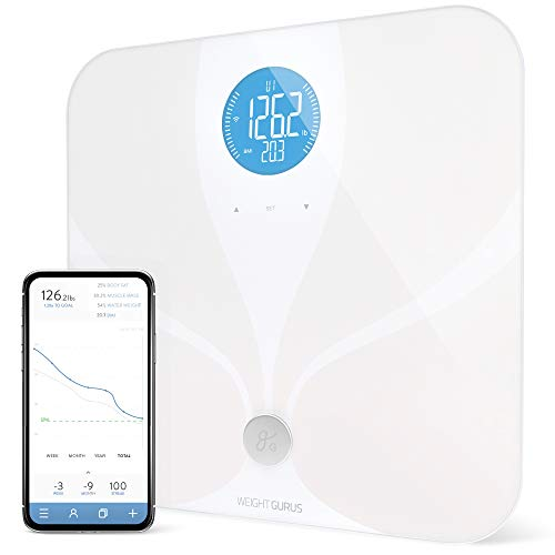 WiFi Smart Connected Body Fat Bathroom Scale by Weight Gurus, Backlit LCD, ITO Conductive Surface Technology, Accurate Precision Health Alerts, Measurements, and Monitoring (White)