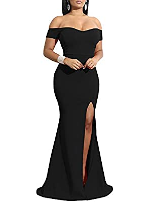 Style:floor-length,thigh high slit,formal prom gowns,give you an eye catching and sultry silhouette. Material:polyester + spandex,the fabric is stretchy, feels soft and comfortable Suitable for:It's such a timeless and chic look!The gorgeous look is ...
