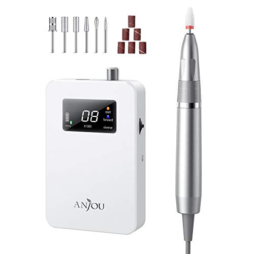 Professional Nail Drill 30000 rpm Acrylic Nail Drill Machine With 6 Bits for Poly Nails Art Nails, 35 dbs Low Noise, No Heat, Anti-Vibration
