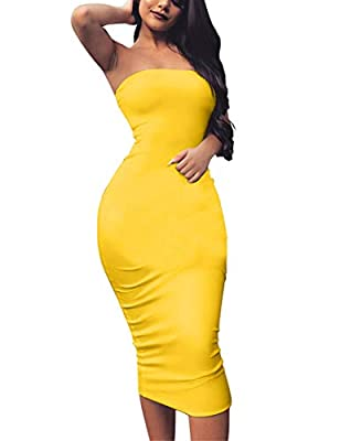 Fabrics: 95%Polyester, 5% Spandex, the bodycon tube top dress is soft, warm , and comfortable, It stretches and fits great Features: The bodycon strapless dress is simple classic, basic casaul, midi length, tight slim fitted like a glove Size: S=US(4...