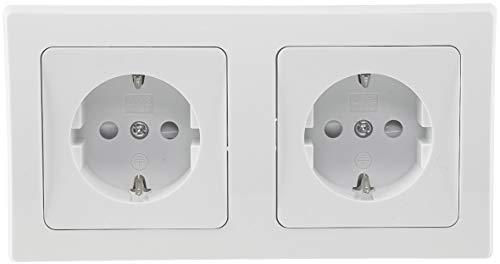 Delphi Doppel-Steckdose Weiß 2 Schutzkontaktsteckdosen mit Kinderschutz 2-Fach Steckdose Komfort Kabel Klemm Anschluss