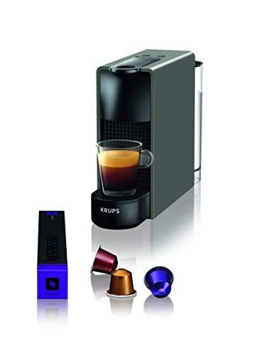 Krups Nespresso XN110B Krups Essenza Mini - Cafetera monodosis de cápsulas Nespresso, compacta, 19 bares, apagado automático, color gris (Pack Cápsulas bienvenida incluido)