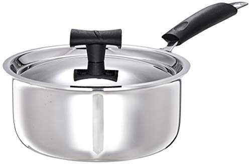 Amazon Brand - Solimo Stainless Steel Triply Saucepan with Lid, 16cm