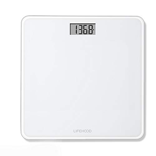 Digital Body Weight Scale - 4 High Precision Sensors Body Weight Scale with Step-On, Auto-Calibrated & Auto ON/Off Technology, Wide Sturdy Tempered Glass Bathroom Scale, Round Corner Safe Design