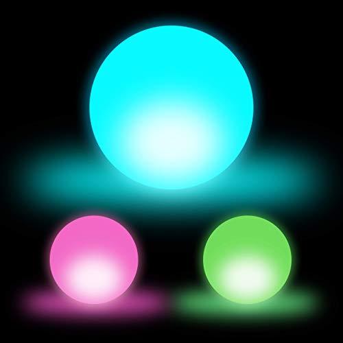 Relaxdays LED Kugel im 3er Set, Leuchtkugel, Kugellampe, Stimmungslichter mit Farbwechsel, kabellos, D: 7,5 cm, weiß