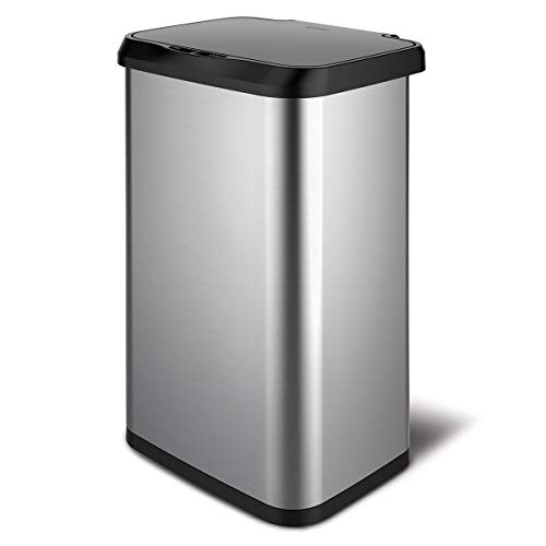 GLAD GLD-74514 Extra Capacity Stainless Steel Sensor Trash Can with Clorox Odor Protection of The Lid   Fits Kitchen Pro 20 Gallon Waste Bags